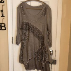 Tops - Tunic with sweater over vest. Size Large.